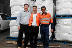 Take a photo with Australia customer after setting up the mechanical briquette plant in their facility