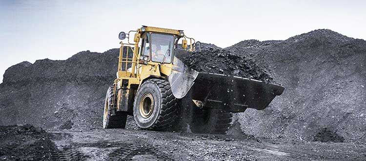coal dust is loading by a loader